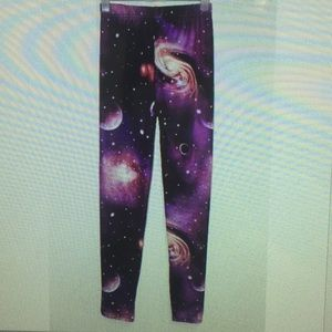Women Purple Cosmic Rave Party Galaxy Leggings